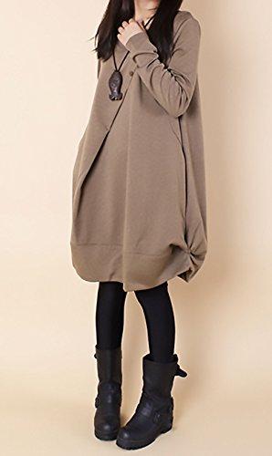 Larghi Collo Eleganti Donna Hippie Invernali Autunno Irregolare Lunga Giorno Maglietta Tinta Da Moda Unita Casual Manica Vestiti Vestito Al Cachi Ginocchio Rotondo Abito zFqAdxA