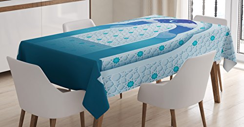 Ambesonne Moroccan Tablecloth, Eastern Arabic Quote Textured Arch Door with Cloudy Star Sky Night Backdrop Print, Dining Room Kitchen Rectangular Table Cover, 60 W X 84 L Inches, Navy Blue
