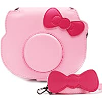 Fujifilm Instax Mini Hello Kitty Instant Camera Case, HelloHelio [Exact-Fit] Pink Kitty bowknot Case For INS MINI KIT CHEKI CAMERA (2014) - Pink