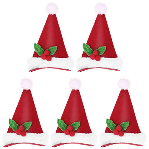 LUOEM 5PCS Christmas Hat Hair Clip Kids Girls Hairpins Xmas Party Hair Clips Novelty LED Santa Hat Decor for Xmas Accessories -