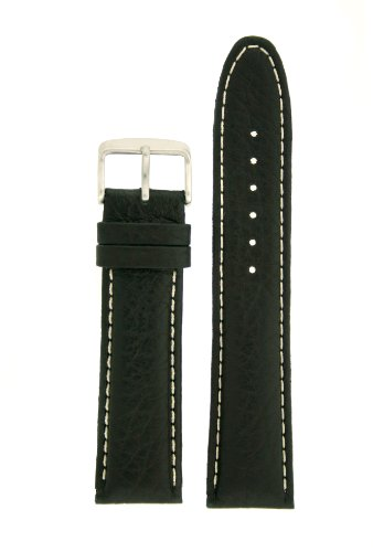 Extra Thick Padded Watch Band Genuine Leather Black 22 millimeters White Stitching Tech Swiss by Tech Swiss