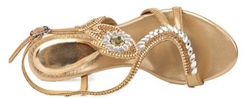 Abby Zxl003 Womens Mode Bruiloft Bruid Bruidsmeisje Partij Prom Getoond Comfort Loafer Pu Slippers Goud-a
