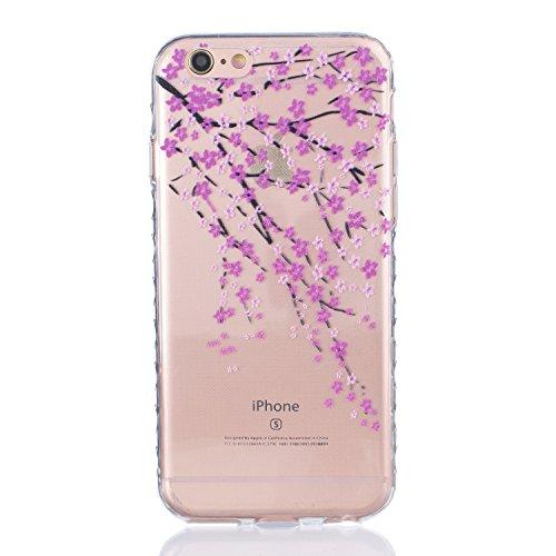 Für Apple iPhone 6 / iPhone 6S (4.7 Zoll) Hülle ZeWoo® TPU Schutzhülle Silikon Tasche Case Cover - BF089 / Pfirsichblüte