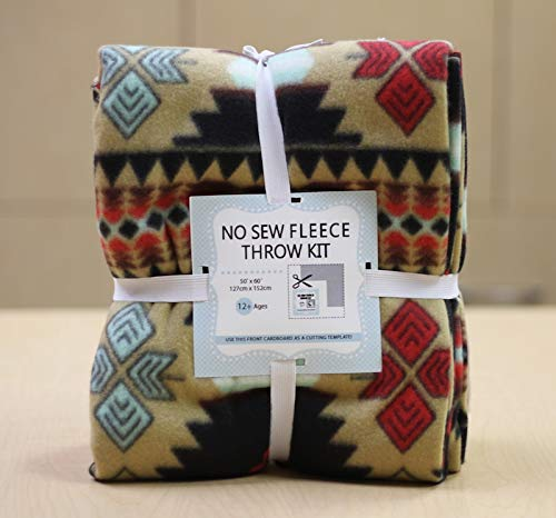 Southwest Aztec No-Sew Throw Fleece Fabric Kit ()