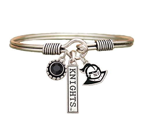 Sports Accessory Store Central Florida Knights 3 Charm Black Crystal Silver Bracelet Jewelry UCF