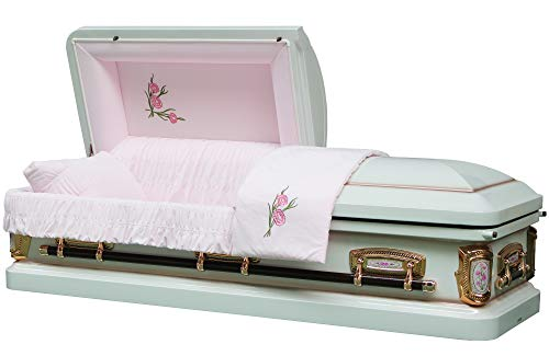 Funeral Casket - PrimRose White Shade with Silver Rose Finish 18 Gauge Metal Casket - Coffin ()