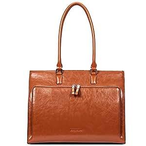 "BOSTANTEN Women Leather Briefcase Vintage Shoulder 15.6"" Laptop Tote Handbags Brown"
