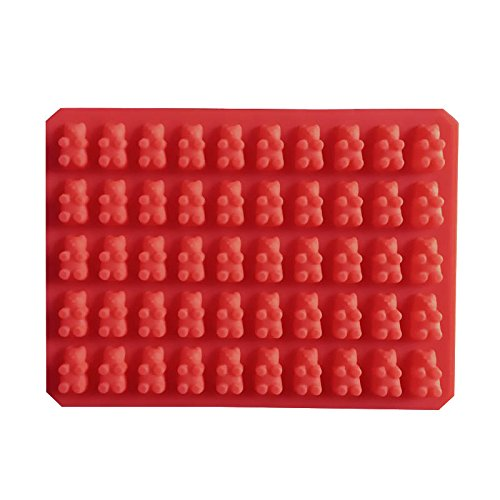 Silicone molds new 60 lattices bear shape DIY chocolate mold ice cube silicone jelly - Red Color