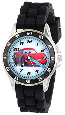 Disney Kid's Cars Watch, Learn How to Tell Time - Kid's Time Teacher Watch with Official Cars Character on the Dial, Childrens Watch with Black Rubber Strap, Kids Analog Watch, Safe for Children by Accutime Watch Corp.