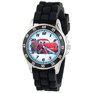 Disney Kid's Cars Watch, Learn How to Tell Time – Kid's Time Teacher Watch with Official Cars Character on The Dial, Childrens Watch with Black Rubber Strap, Kids Analog Watch, Safe for Children