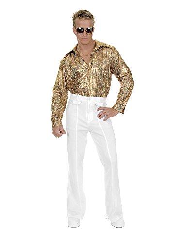 Gold Glitter Hologram Disco Shirt Adult Costume - (Hologram Costumes)