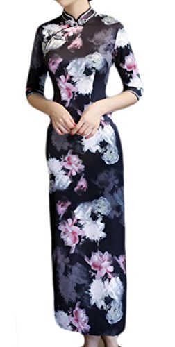 Stand Floral Cheongsam Side Slit Womens Pattern8 Printed Comfy Splicing Collar nWpOIBqc