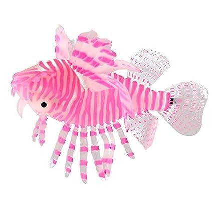 eDealMax Acuario de silicona Fish Tank Sucker Copa Diseño Pez león Artificial Adornos Rosa Blanco
