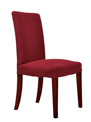 chunyi-jacquard-polyester-spandex-small-checks-dining-chair-covers-solid-slipcovers4piece-wine