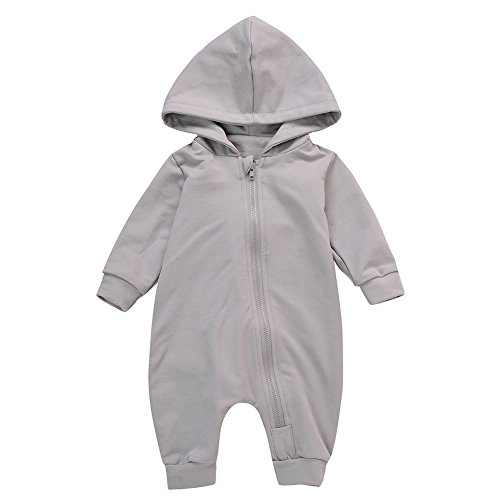 Gprince Baby Girl Boy Clothes Newborn Onesies Dinosaur Hooded Bodysuit Footies Gray 70cm (Cheerleader Toddler One Dress Piece)