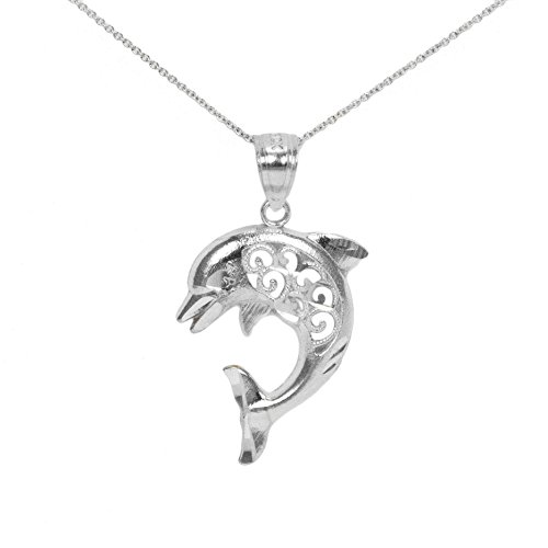 (14k White Gold Dolphin Necklace)
