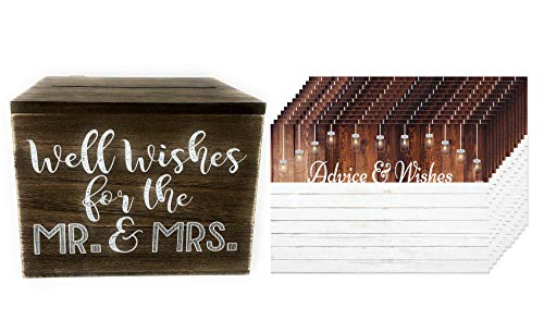 Ropeastar Well Wishes Box with Advice and Wishes Cards Set for New Mr. and Mrs, Wedding Reception Decorations, Alternative Guestbook for Wedding or Engagement Party