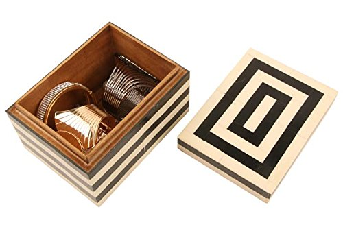 Handicrafts Home Concentrics Keepsake Decorative Jewelry Storage Box Black & White Bone Handmade Boxes from (Square)