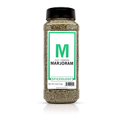 Spiceology Marjoram Leaves | All-Natural and Non-Irradiated Dried Marjoram Herb | 4 oz Bulk Container