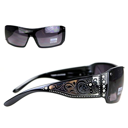 Montana West Ladies Sunglasses Rhinestones Silver Scrolling & Cross Cutouts UV400, Black Frame Black - Wholesale West Montana Sunglasses
