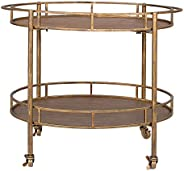 Creative Co-op Gold 2 Tier Metal Bar Cart on Casters