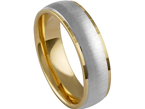 Men's Two Tone 14k Yellow White Gold Satin Finish 6.5mm Comfort Fit Wedding Band Ring size 12
