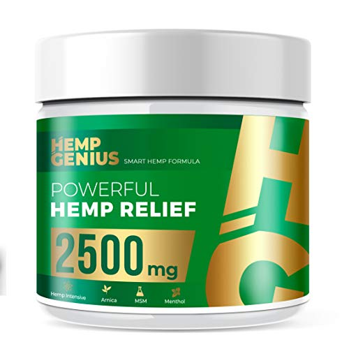 HEMP GENIUS Hemp Relief 2500mg Cream The Smart Hemp Pain Relief Cream Therapy for Arthritis, Back, Knee, Hands, Neck, Feet, Muscle Soreness, Inflammation, Joints, Arnica- 2oz