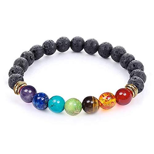 7 Chakra Healing Bracelet with Real Stones, Volcanic Lava...