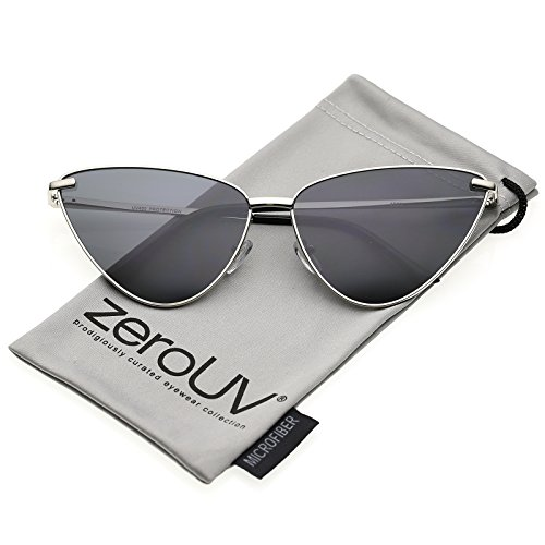 zeroUV - Oversize Ultra Thin Metal Frame Flat Lens Cat Eye Sunglasses 65mm (Silver / - Thin Eye Cat