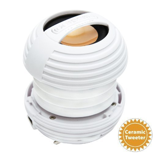 XBOOM Ceramic Mini Portable Capsule Speaker with Rechargeable Battery, Enhanced Bass+ and Ceramic Resonator - White by XBOOM