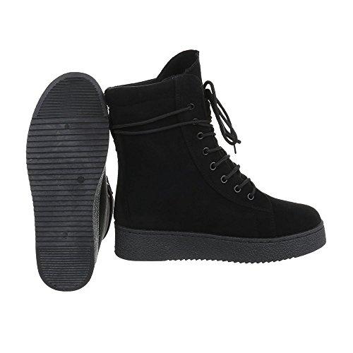 Botines Design de Botas cordones Ital Zapatos Plano Negro mujer para 44wCO