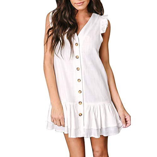 Jiayit Womens Women's Mini Dress Womens V Neck Petal Sleeveless Button Ruffles Loose Mini Short T-Shirt Dress Travel Holiday Vacation Wedding Party Gown ()