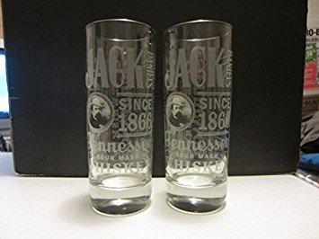 Set of 2 Jack Daniels Tennessee Sour Mash Whiskey Old No 7 Brand Silver Rimmed Highball Cocktail Glasses (Best Sour Mash Whiskey)