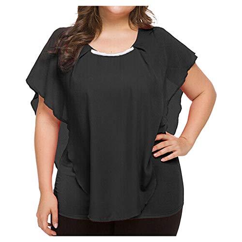 Londony❀♪ Womens Casual Scoop Neck Loose Top 3/4 Sleeve Chiffon Blouse Shirt Tops Girls Plus-Size Chiffon Trim Tunic Black