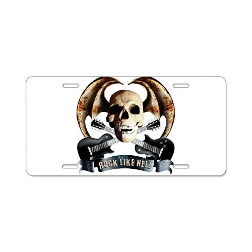 AhuiA-Rock Like Hell Skull Custom Personalized Aluminum Metal License Plate Cover Front Auto Car Accessories Vanity Tag- 6x12 Inches -