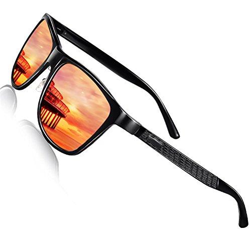 (ZUVGEES Driving Polarized Wayfarer Sunglasses for Men Women Metal Frame Sunglasses Al-Mg Lightweight UV Protection Sunglasses (Black frame/Red Mirrored lens))