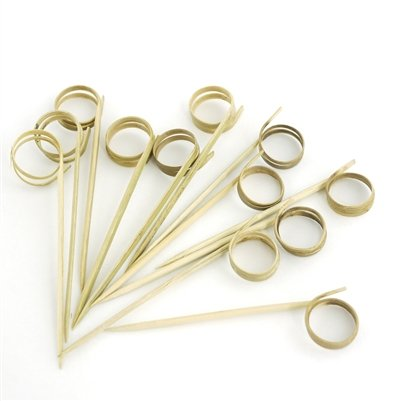"BambooMN 3.5"" Bamboo Ring Cocktails Hors D'oeuvres Fruit Sandwich Skewers Picks for Catered Events, Holiday's, Restaurants or Buffet Party Supplies, 200 Pieces"