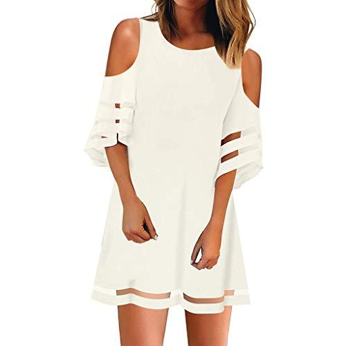 Kulywon Women's Mesh Panel Blouse 3/4 Bell Sleeve Loose Off Shoulder Top Shirt Dress White ()