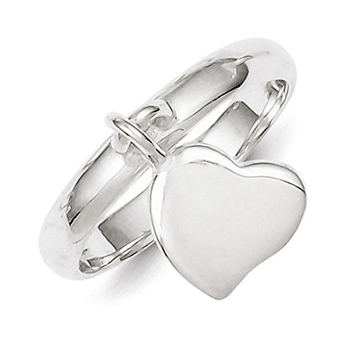 Sterling Silver Dangle Heart Ring Size 8