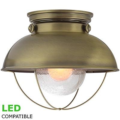 """Revel Bayside 11"""" Industrial Flush Mount Ceiling Light + Seeded Glass Shade"""