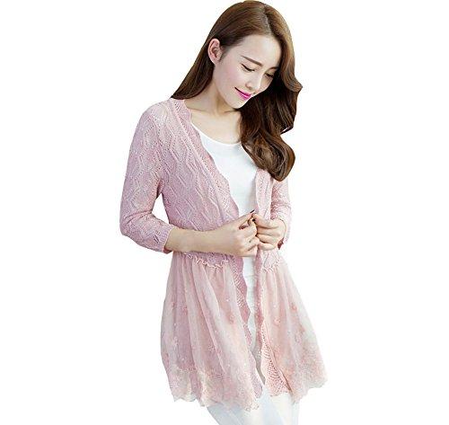 daee0515365 Shawhuaa Womens Lace Splice Crochet knit Elegant Cardigan - Import ...