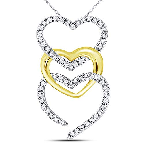 Dazzlingrock Collection 10kt Two-tone Gold Womens Round Diamond Triple Cascading Heart Pendant 1/6 Cttw