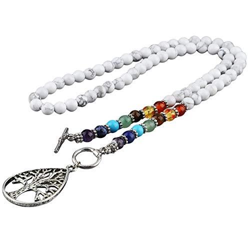 Nupuyai Tree of Life Pendant for Unisex, 7 Chakra Mala Healing Stone Necklace, Yoga Meditation Prayer Bracelet