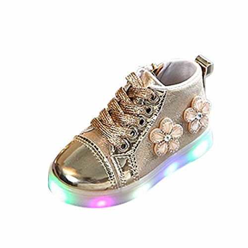 Baby Shoes for 1-3.5 Years Old,Infant Toddler Girls Flower Zip Crystal LED Light up Luminous Sneakers Shoes (3-3.5 Years Old, Gold)