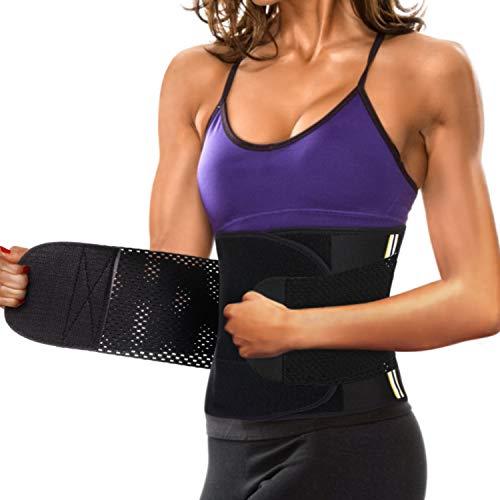 Wonderience Women Waist Trainer Corset Neoprene Sauna Sweat Belt Slimming Body Shaper for Weight Loss (M, Black Waist Trainer Belt) (Neoprene Waist Belt)