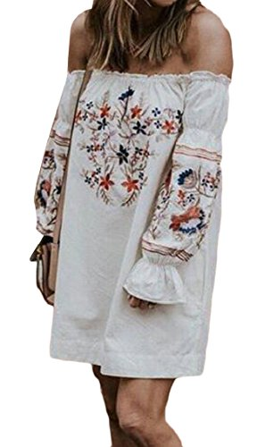 Off Long Dress Jaycargogo Floral Mini Summer Women's Shoulder Sleeve White Ruffle Rnn1YFq