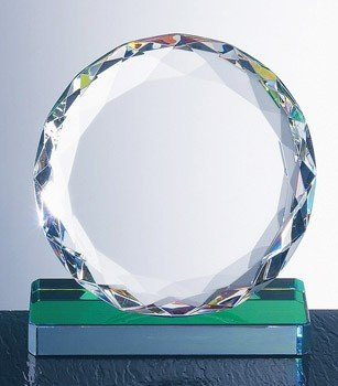 (Optical Crystal Gem-Cut Circle Trophy with Color Reflective)