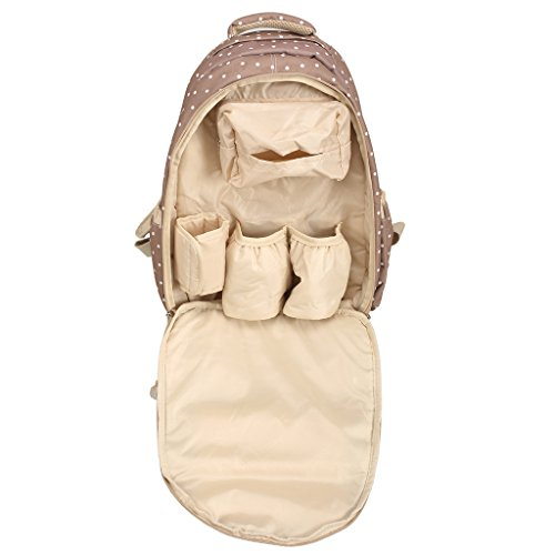 LCY - Mochila para pañales (con compartimentos) beige con lunares blancos beige con lunares blancos