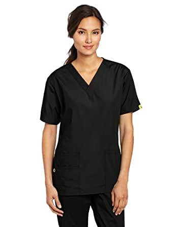 WonderWink Women's Scrubs Bravo 5 Pocket V-Neck Top, Black, XX-Small