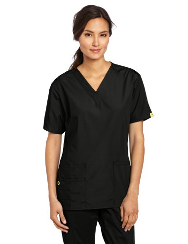 WonderWink Women's Scrubs Bravo 5 Pocket V-Neck Top, Black, Medium from WonderWink